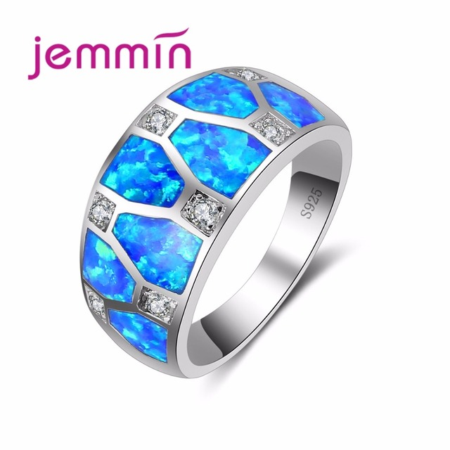 Jemmin Round Cut Convexity 925 Silver Ring Geometric Wide Blue Opal Ring for Wom