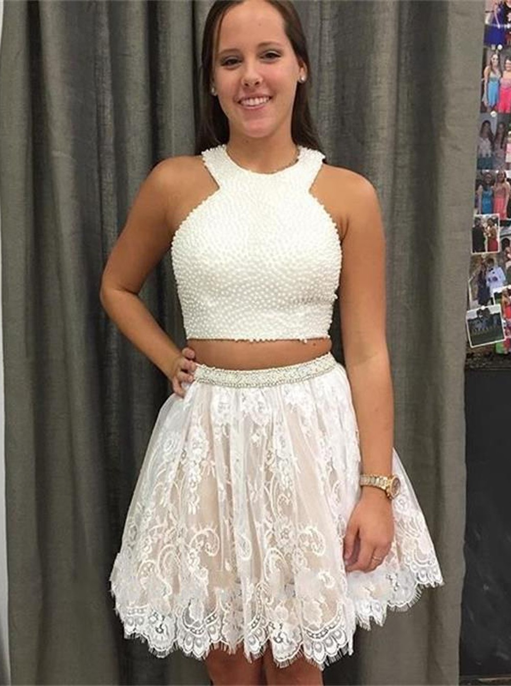 ac356dcef15b White Halter Two Piece Prom Dress