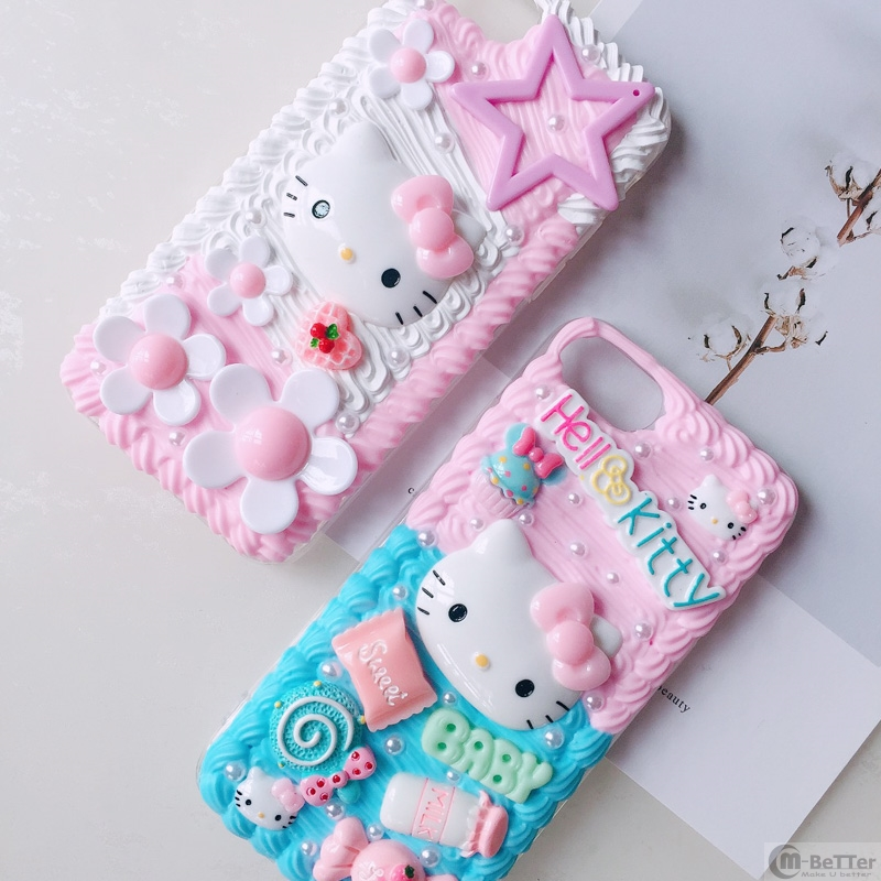 2019 Latest Design For Samsung S10 Plus+ Diy Case Note8/note9 3d Hello Kitty Phone Cover Galaxy S9/s8+ S6/s7 Edge Handmade Creamy Case Girl Gifts
