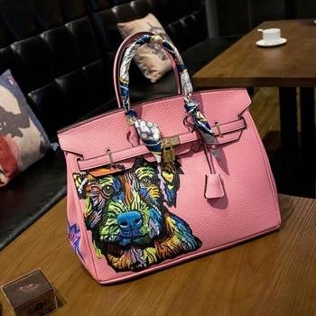2016 high quality new Hand -made graffiti nugget handbags Fashion move Pink portable large package designer women handbags