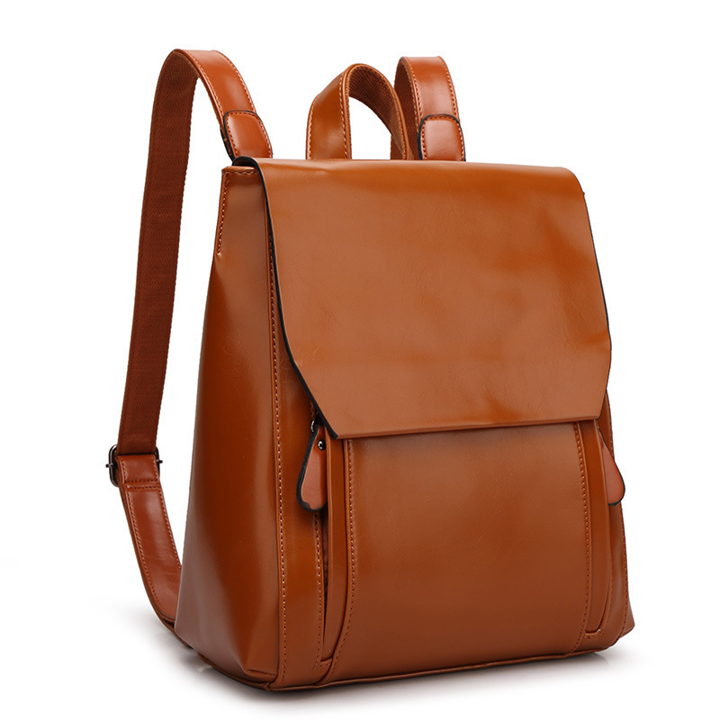 Simple Leather Bag Women Backpack Leather School Backpack Female Women