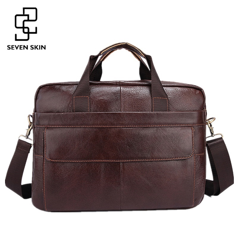 Famous Brand Genuine Cowhide Leather Mens Business Briefcase Laptop Bags Men's Travel Bag Portfolio Men Shoulder Bag Man Handbag padieoe mens briefcase famous brand top cowhide leather men messenger bag luxury handbags shoulder bags male business portfolio