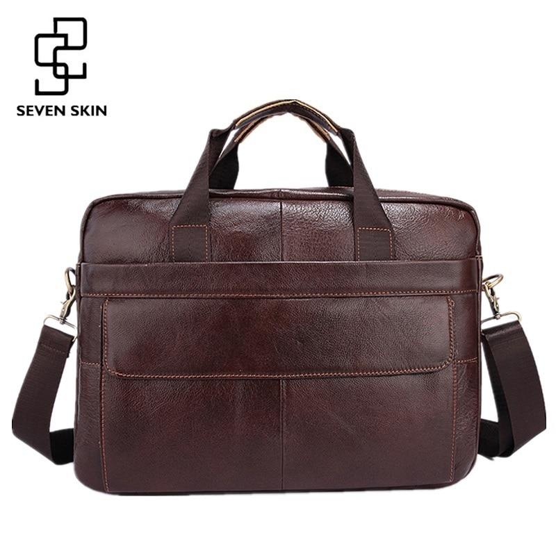 Famous Brand Genuine Cowhide Leather Mens Business Briefcase Laptop Bags Men's Travel Bag Portfolio Men Shoulder Bag Man Handbag