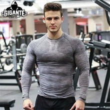 2018 New Male T-shirt Tights Long Sleeve Tops & Tees Men Compression Shirt Fitness Quick Drying t shirt clot(China)