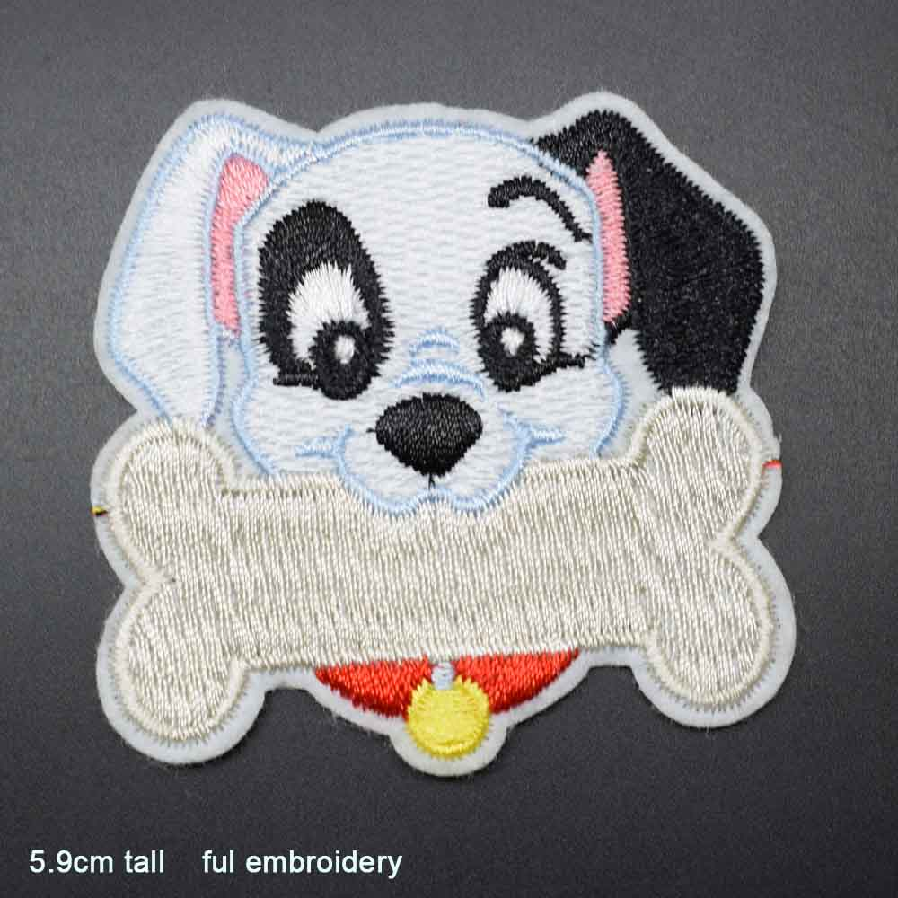 Пятнистая собака полная вышивка Железная на вышитой одежде нашивки для одежды наклейки одежды торговля - Цвет: gou yao gutou