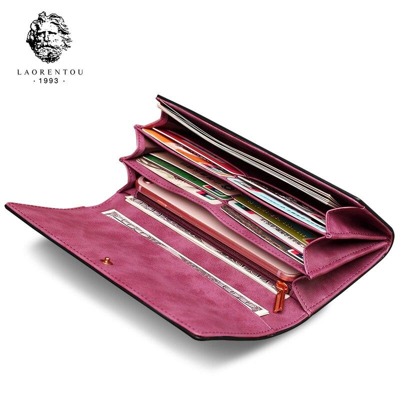 купить LAORENTOU Women Long Wallets Cow Leather Wallet Fashion Ladies Wallet Stylish Long Purse Clutch Bag for Women по цене 1462.63 рублей