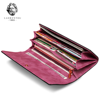 LAORENTOU Women Long Wallets Cow Leather Wallet Fashion Ladies Wallet Stylish Long Purse Clutch Bag for Women