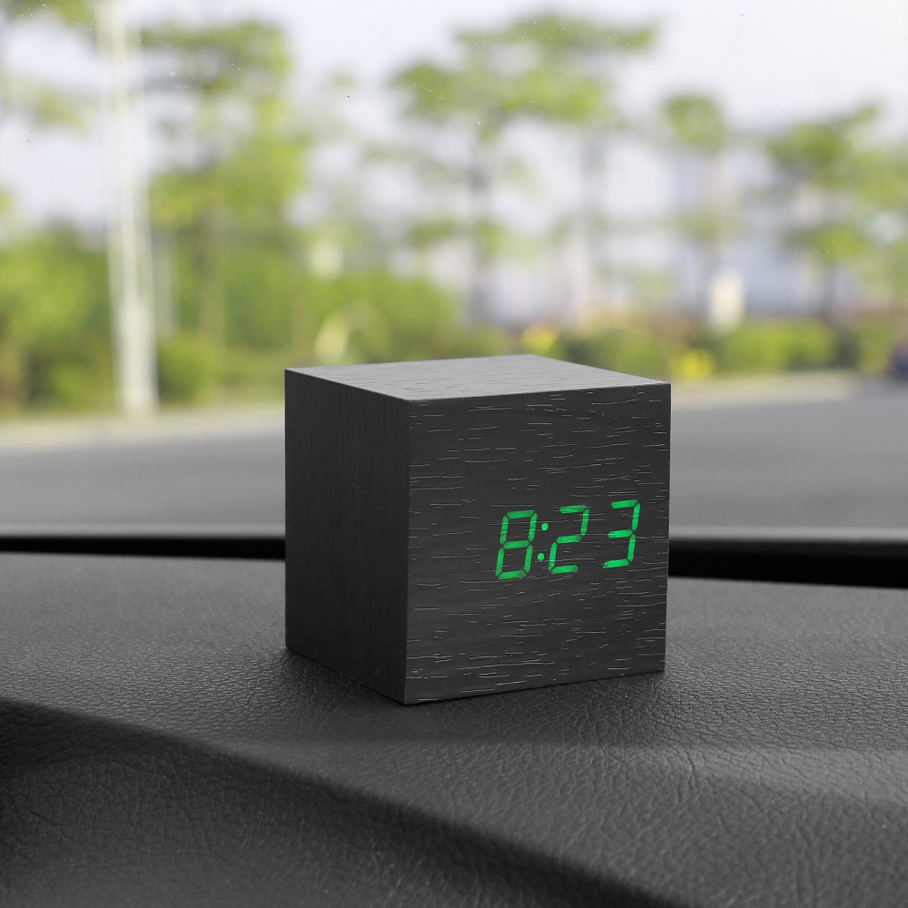 Car Clock Ornaments Watch Thermometer Date 3 In 1 Dashboard Decoration Wood Alarm Clock Automobile Interior Decor Accessories