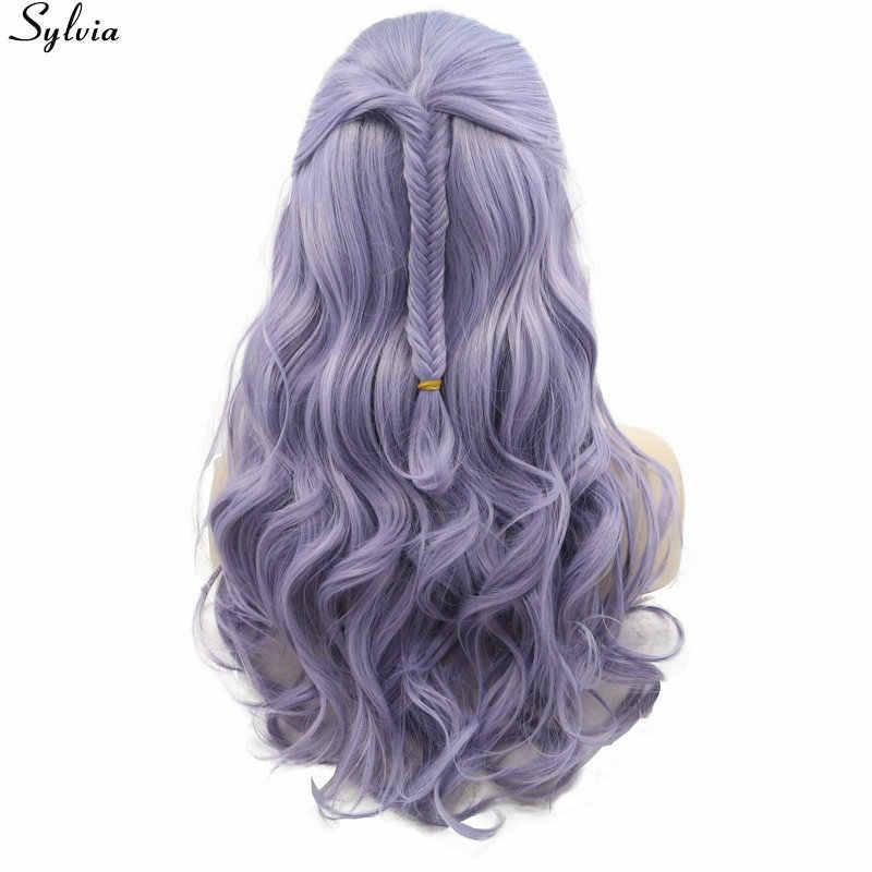Pastell Lila Lila Lavendel Spitze Vorne Perücke Synthetische Natürliche Welle mit Fischschwanz Zöpfe Glueless Perücken Hitze Beständig Haar Sylvia