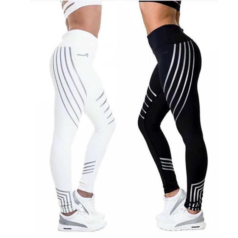 Sport Women Yoga Pants Fitness Leggings Light High Elastic Shine Leggins Workout Slim Fit Women Pants Black Jeggings Trousers