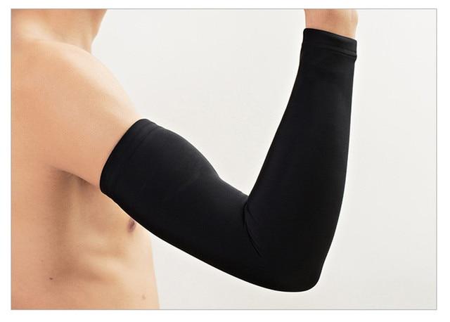 Tecido de gelo respirável proteção uv correndo mangas braço fitness basquete manga esporte ciclismo ao ar livre aquecedores braço ciclismo manguito 5