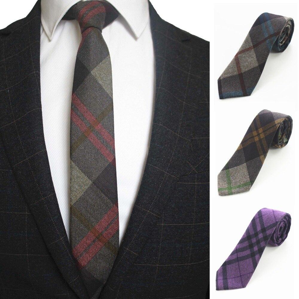 "JEMYGINS Original 2.4"" Skinny England Plaid Cashmere Wool Tie Handmade Slim Necktie For Fashion Youth Men Party Suit Neck Tie"