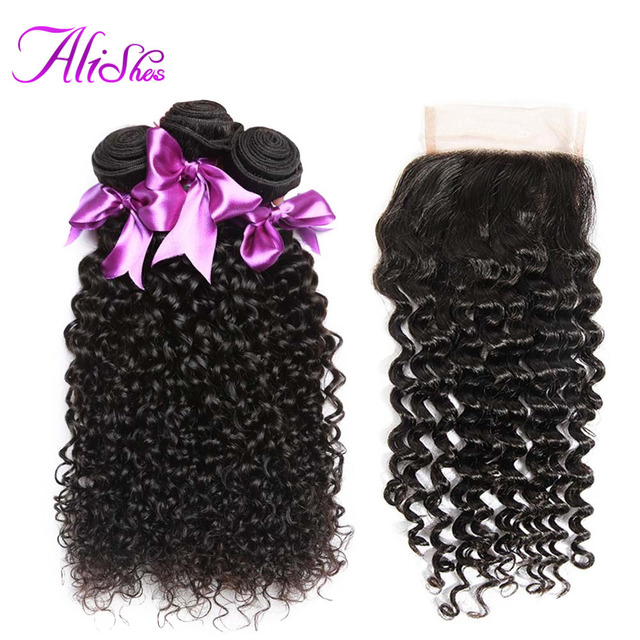 Alishes Malaysian Curly Hair Bundles With Closure 4*4 Lace Free Part Human Hair Weave 3 Bundles With Closure Non Remy Hair