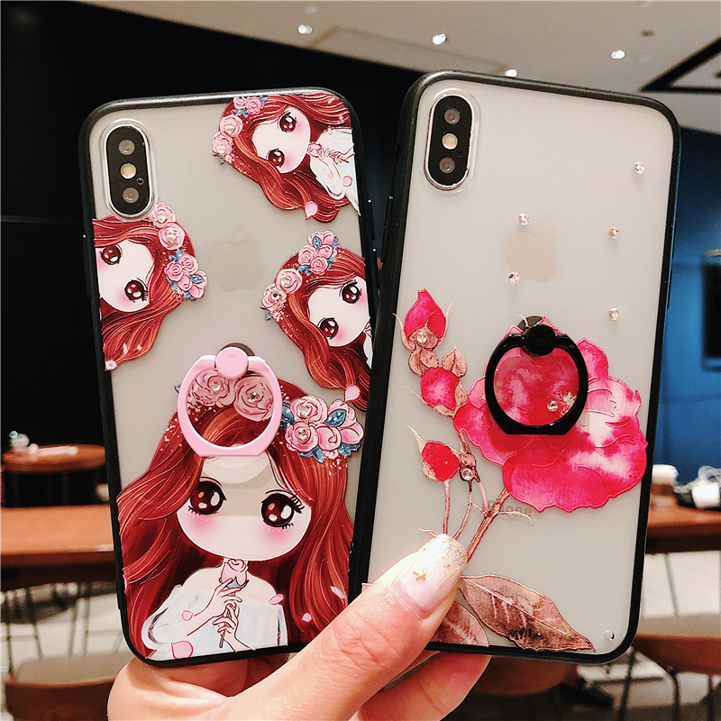 2b6264233b8 Exhard Pretty Girl flower Phone Case For iPhone XS MAX XR X 8 7 Plus Case  Cat With Ring For iPhone 6 6s Plus Case Cover Fundas