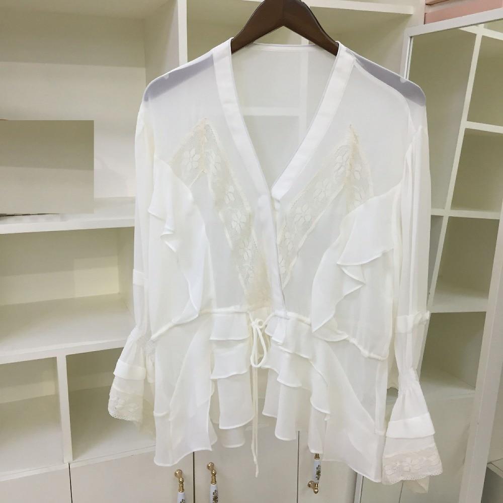 V Chemise Printemps 3 Joker Dentelle Style Tempérament Picture T 2019 Ruches À Couture Nouveau Col En Blanc 7 shirt De As CrxBodeW