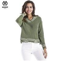 MUMUZI חור סתיו סוודרי נשים 2017 חדש סרוג נשים וסוודרי הולו Jumper סוודר עיצוב קצר V צוואר