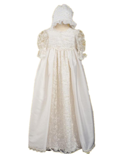 Vintage Heirlooms Infant Baptism Dress Baby Girl White Ivory Christening Dress 2 Tier Lace Applique Robe 0-24 month With Bonnet