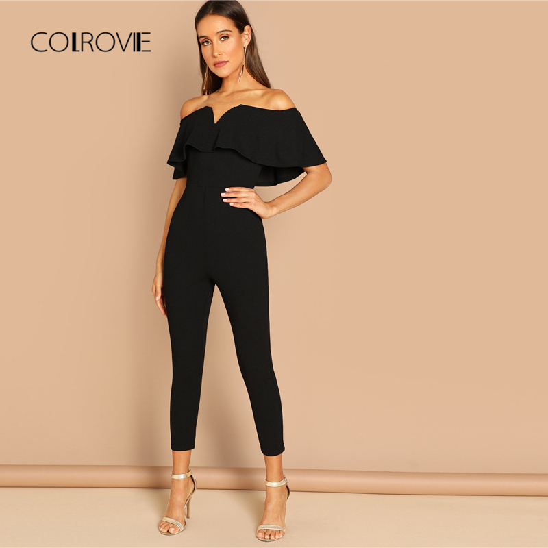 COLROVIE Black Off the Shoulder Ruffle Sexy Skinny Shirt   Jumpsuit   Romper Women 2018 Autumn Short Sleeve Office Long   Jumpsuits