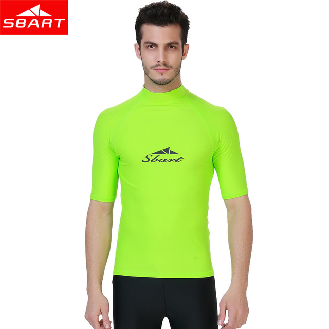 d01204c0d3d6 SBART Rashguard for Men Short Sleeve Rash Guard Swimsuit Shirt Sun  Protection Men Surf Rashguard Swim T-Shirts Windsurf Tops J