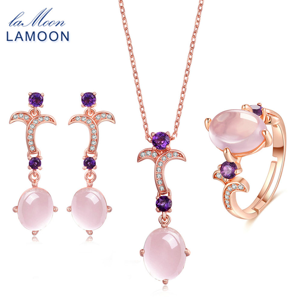 LAMOON Gemstone Pink Rose Quartz 925 Sterling Silver Jewelry Rose Gold Plated Jewelry Set Necklace Earring Ring Women Set V025-1LAMOON Gemstone Pink Rose Quartz 925 Sterling Silver Jewelry Rose Gold Plated Jewelry Set Necklace Earring Ring Women Set V025-1