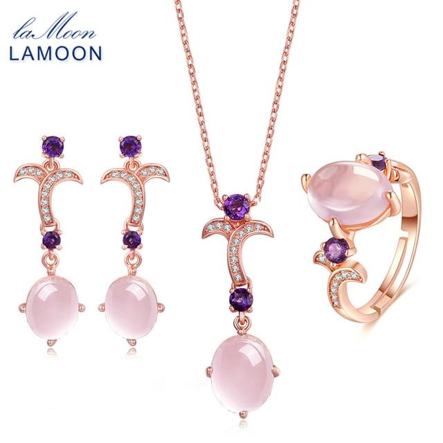 LAMOON Gemstone Pink Rose Quartz 925 Sterling Silver Jewelry Rose