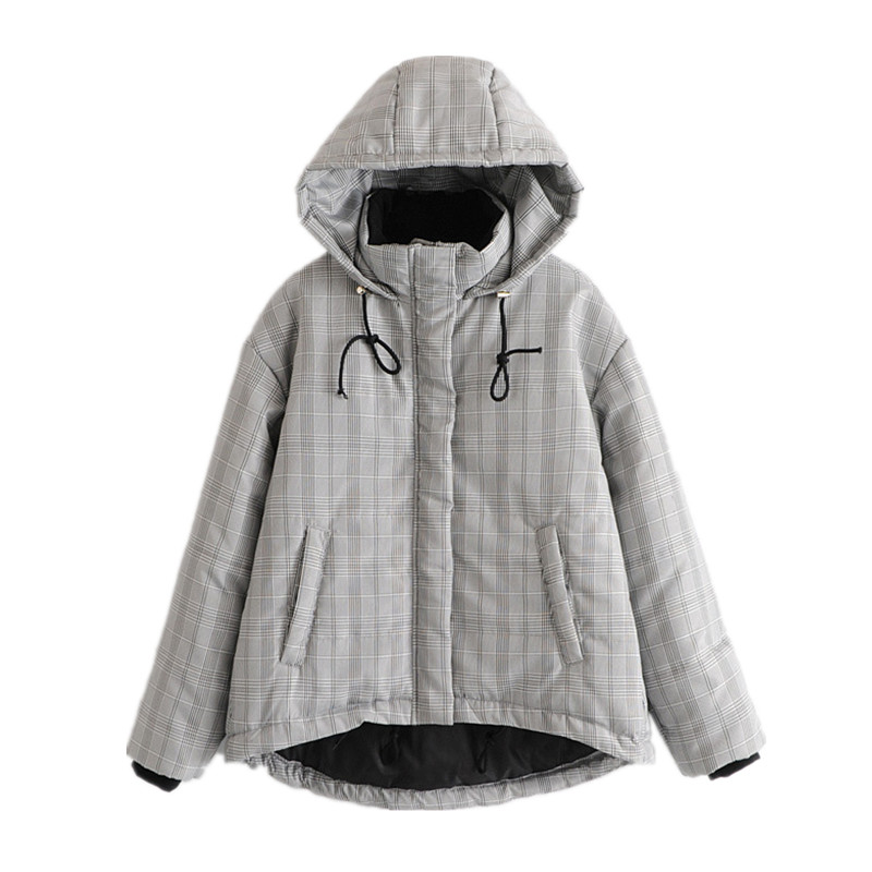 Winter New Women Clothing Hooded Parkas Jackets Cotton Clothes Fashion Loose Leisure Korean Gray Check Thick Warm Jackets Coats