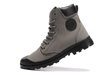 PALLADIUM men outdoor gray warm winter leather ankle military boots,male high quality lace-up army pampa cuff casual shoes 40-44