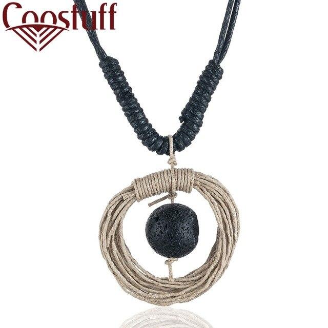 361f8762a56e Handmade Braid Rope New Women Jewelry Long Necklace Choker Black Big Lava  Stone Pendant collares mujer choker kolye bijoux femme