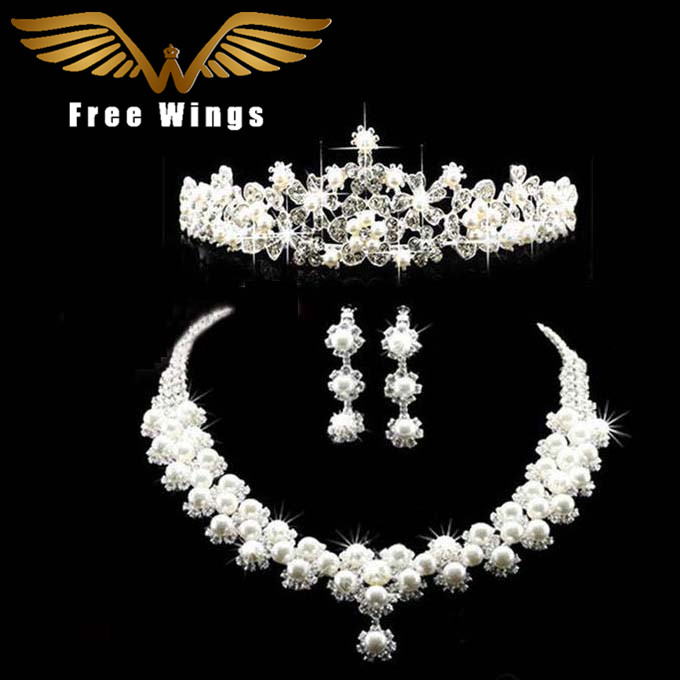 Crown Tiara Pearls Necklaces Earrings Bridal Jewelry Sets For Wedding B28