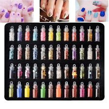 48 Bottles/pack 3D Shinny Nail Glitter Powder Acrylic Gel Polish Flakes Sequins Designs Mini Bottles Decorations