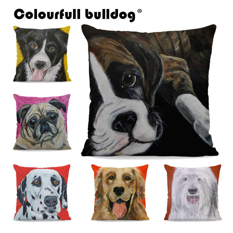 Bernese Mountain Dog โยนหมอน Boston Terrier Boxer Dog Cushion ครอบคลุม Great Dane Spotty Dog 43*43 ซม. office Home โซฟา