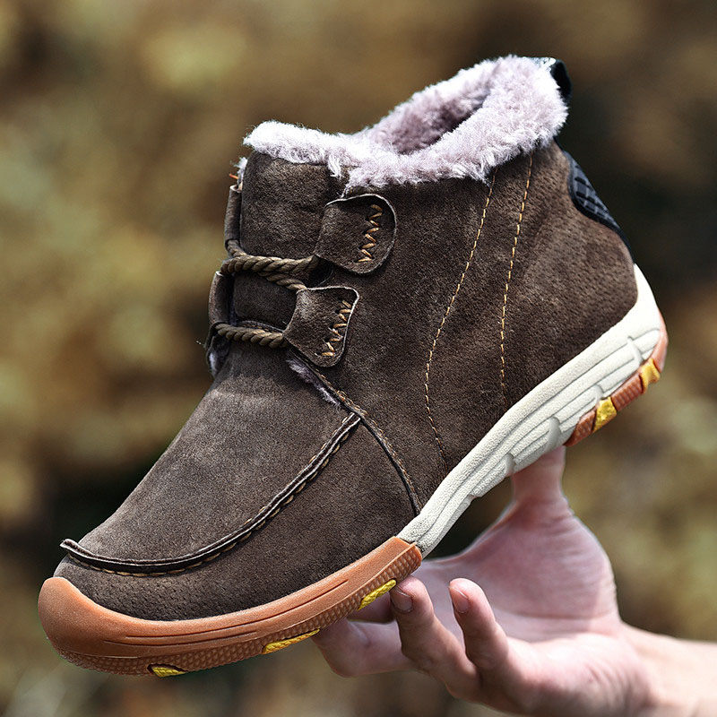 New Roman Men Boots Men Winter with Fur Warm Snow Boots For Men Sneakers Male Cow Suede Leather Casual Shoes Adult Ankle Boots zenvbnv winter leather men boots work casual boots men keep warm shoes male rubber snow cow suede leather ankle boots for men