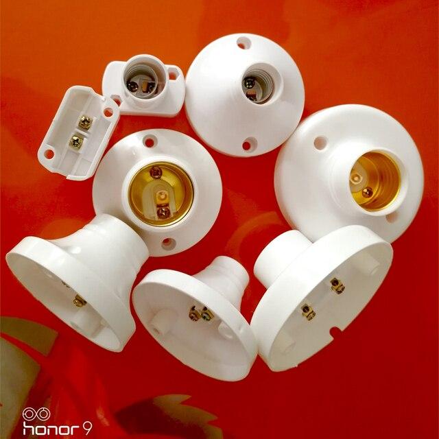 10 Pcs/lot E14/E27 Soket Putih Persegi Panjang Shell E14/E27 Dudukan Lampu untuk Lampu LED, tidak Lebih Besar dari AC250V 60 W