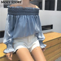 2017 New Cute Sexy Off Shoulder Top Shirt Puff Long Sleeve Chiffon Blouse Strapless Boho Tops