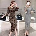 Engrosamiento de invierno de las mujeres Cuerno mangas suéter de punto + cadera del paquete paso falda lápiz de dos piezas establece mujer trajes de Camuflaje