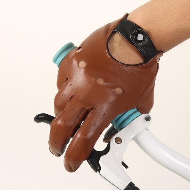 Novos Homens Da Forma Genuína Luvas De Couro De Pulso Metade do Dedo Luvas Sem Dedos de Condução Luva Adulto Sólida Couro Genuíno Real