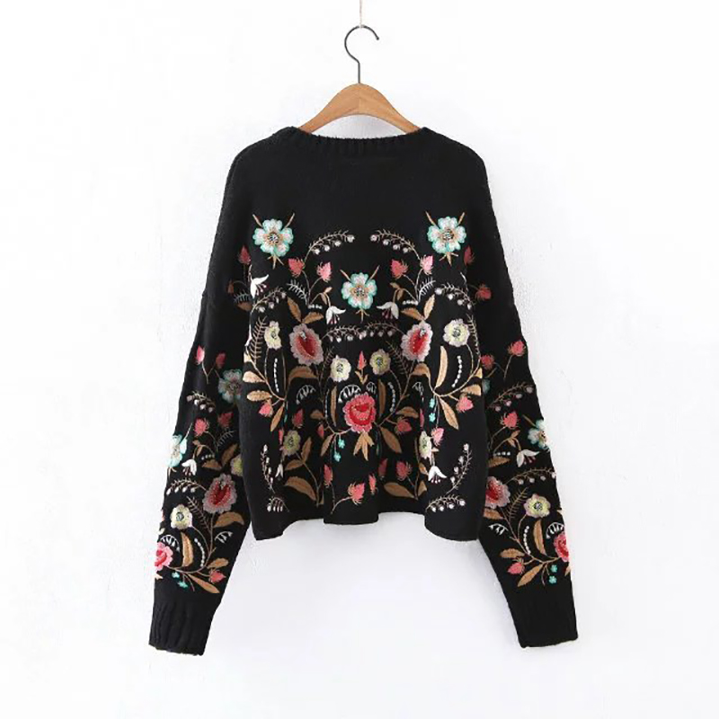 aliexpresscom buy 2018 vintage christmas sweater women sweater pullovers long sleeve female floral embroidery sweater elegant jumper pull femme from - Vintage Christmas Sweater