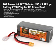 ZOP Power 14.8V 7000mAh 45C 4S 1P Lipo Battery XT60 Plug Rechargeable for RC Racing Drone Quadcopter Helicopter Car Boat Model