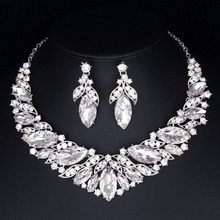 Clear marquise Statement Necklace Earrings Crystal Rhinestone Bridal wedding Pageant Prom Jewelry sets for women party jewelry