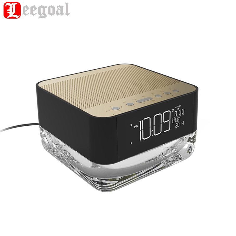 Leegoal Multifunction FM Radio Alarm Clock & Bluetooth Speaker & Night Light Table Beside Lamp with Hands Free Call p0.2 wake up night light alarm clock sunrise simulation dusk fading night light with nature sounds fm radio touch control usb charger