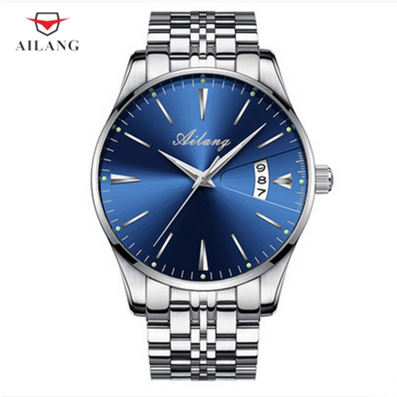 цена на AILANG Simple Mechanical Wristwatches Blue Water Resistant Hidden Clasp Leather Man Watch Relogio Automatico A200