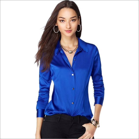 S Xl Women Fashion Silk Satin Blouse On Las Blouses Shirt Casual Office White Black Blue Yellow Long Sleeve 8031 In Shirts From