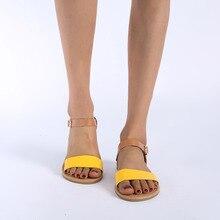 Fashion Women Solid Peep Toe Flat Sandals Summer Casual Rome Rubber San