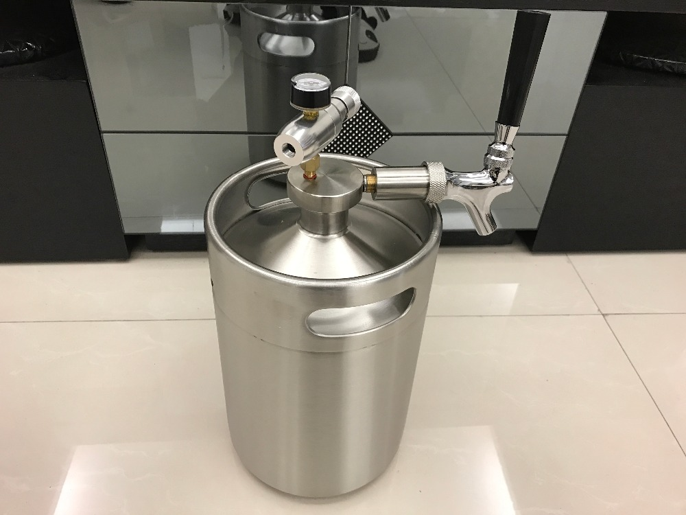 Hot Sale Homebrew 5L Mini Keg 304stainless Beer Growler + 5L Mini ...