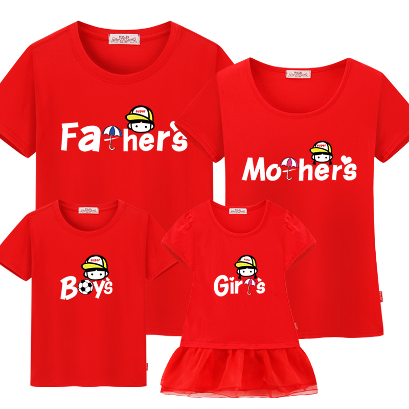 Family matching clothes new summer cotton T-shirts for father mother boy Girl family matching outfits big sister shirt brother