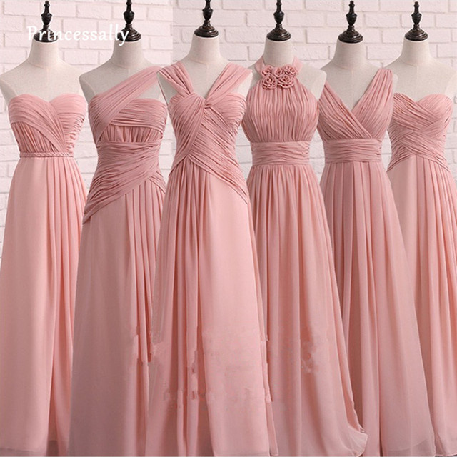 005f3e6dcec Robe De Soriee Long Elegant Pink Bridesmaid Dress Chiffon Pleat Sweetheart Cheap  Simple Prom Party Gown Vestido De Noiva 1680