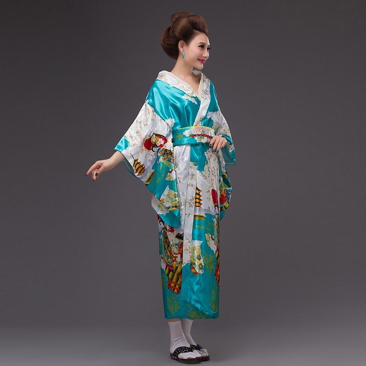 2017New Japan Kimono Kvinners Geisha Kimono Prom Kjole Vintage - Nasjonale klær - Bilde 2