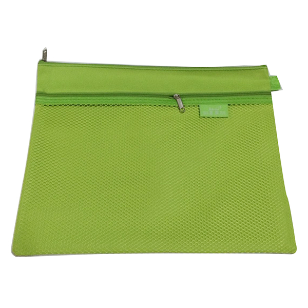 2Sets Bai Ju A4 waterproof zipper file bag information bag office storage documents green ...
