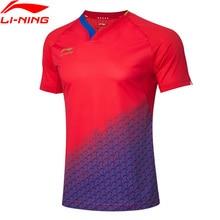 Li ning 남자 탁구 시리즈 경쟁 정장 국가 팀 스폰서 드라이 통기성 lining 스포츠 t 셔츠 aayp081 camj19