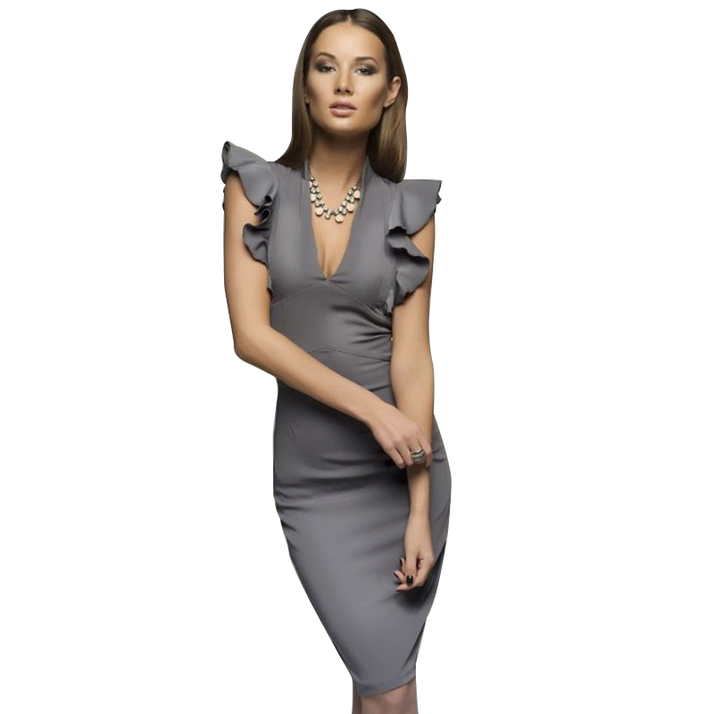 Women Deep V collar Sleeveless Elegant Ruffle Body con Party Dress Work Pencil Dress ...